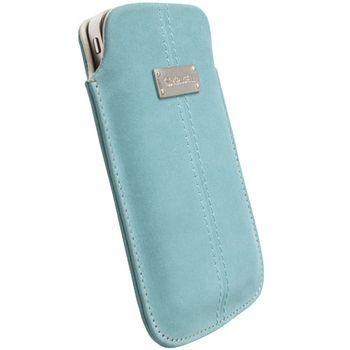 Krusell pouzdro Luna Nubuck - L - Galaxy S, iPhone 4/3GS, Desire/Z, Nok N8/C7 62x116x12mm(tyrkysová)