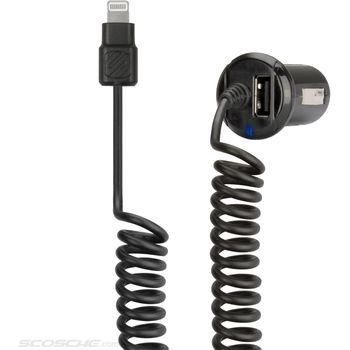 Scosche autonabíječka StrikeDrive s krouceným Lightning kabelem a USB, I2C24