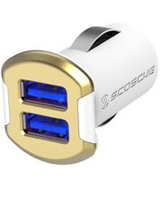 Scosche reVolt dual dvojitá autonabíječka USB 2x 2,4A bílo-zlatá