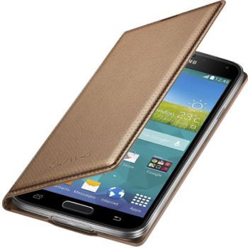 Samsung flipové pouzdro s kapsou EF-WG900BD pro Samsung Galaxy S5 (SM-G900), zlaté