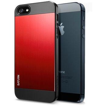 Spigen Ochranný kryt Saturn Metal red pro iPhone 5/5S, černo-červená