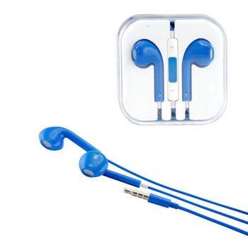 Sluchátka 3,5mm jack, ovladač hlasitosti, mikrofon, modrá