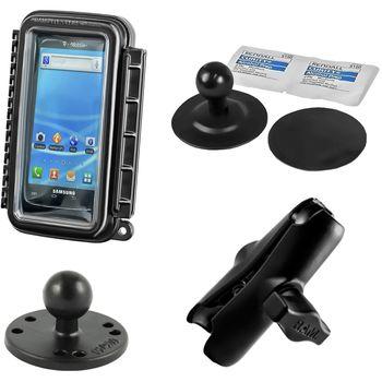 RAM Mounts vodotěsný držák na mobilní telefon na motorku nebo skútr se silným samolepícím úchytem, AQUABOX™ malý, sestava RAM-B-378-AQ3U