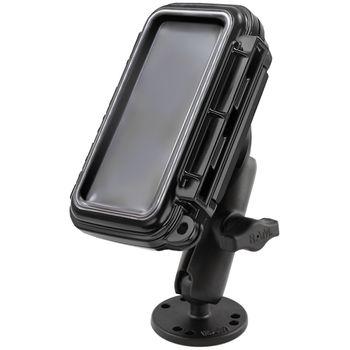 RAM Mounts vodotěsný držák na mobilní telefon na bort kajaku, skútr atd. na šroubky nebo vruty, AMPS, AQUABOX™ střední, sestava RAM-B-138-AQ2U