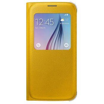 Samsung flipové pouzdro S-View EF-CG920PYE pro Galaxy S6, imitace kůže, žluté